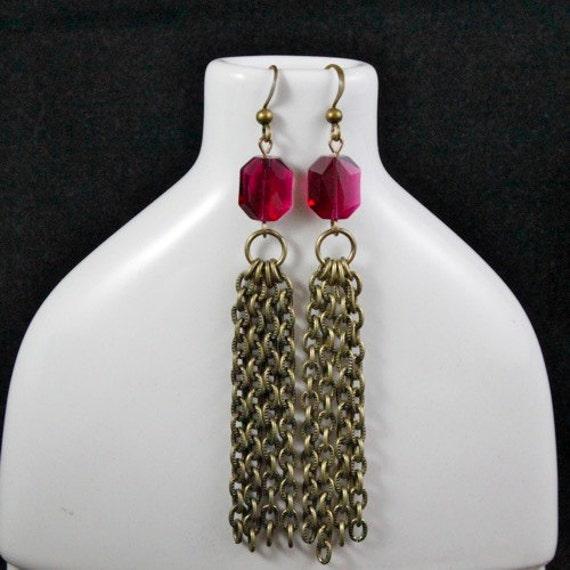 Fuchsia Graphic Tassel Earrings (E873) - Swarovski Crystal & Antique Brass