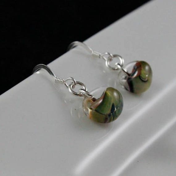 Watercolor Earrings - Lampwork Glass & Sterling Silver