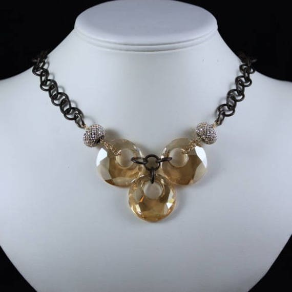 Auspicious Necklace - Swarovski Crystal & Natural Brass