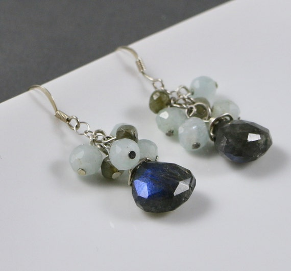 Sea of Flames Earrings - Labradorite | Aquamarine | Sterling Silver