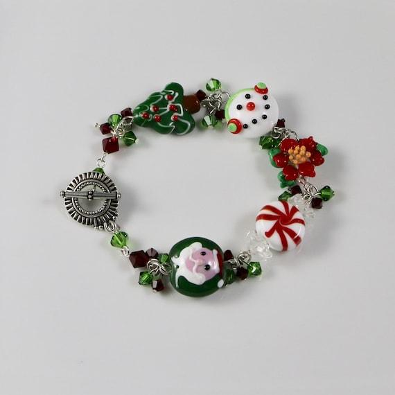 Christmas Delight Bracelet - Lampwork Glass | Swarovski Crystal | Sterling Silver
