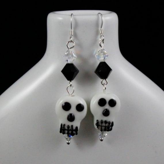 Helter Skelter Earrings - Lampwork Glass | Swarovski Crystal | Sterling Silver