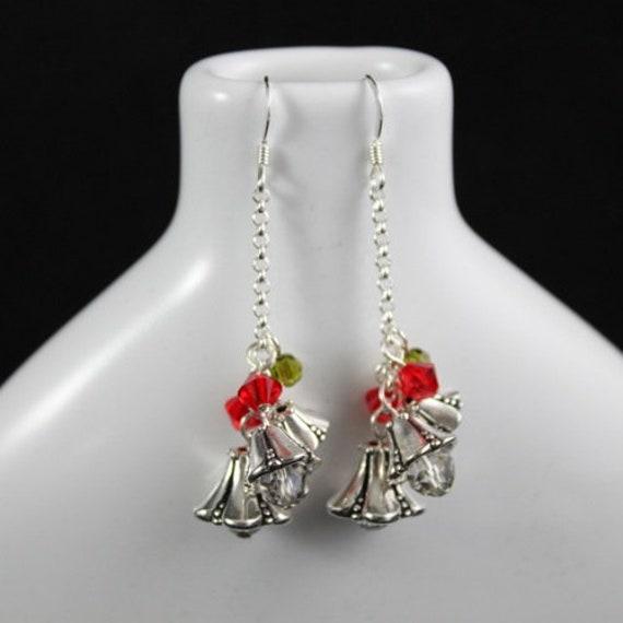 Silver Bells Earrings - Sterling Silver | Swarovski Crystal | Christmas | Holiday