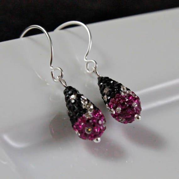 Magenta Bling Earrings - Swarovski Crystal & Sterling Silver