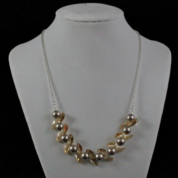 Golden Shadow Wave Necklace (N218) - Swarovski Crystal & Pearl and Sterling Silver