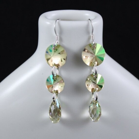 Lush Green Earrings - Swarovski Crystal & Sterling Silver