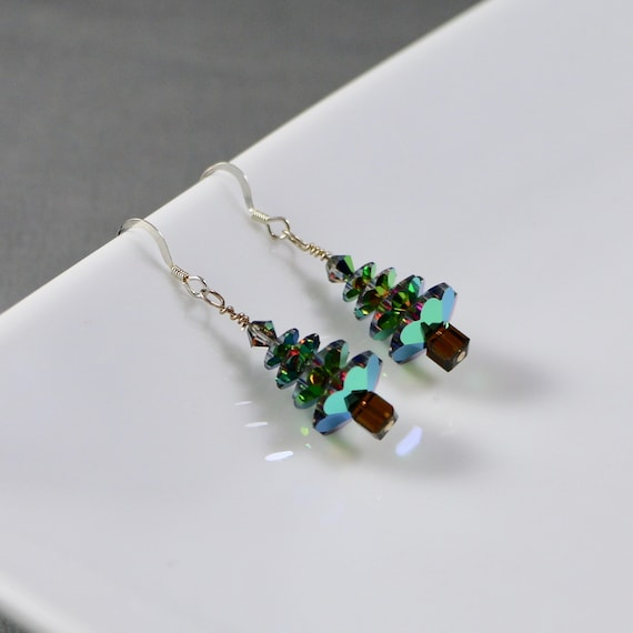O' Christmas Tree Earrings - Swarovski Crystal | Sterling Silver | Holiday