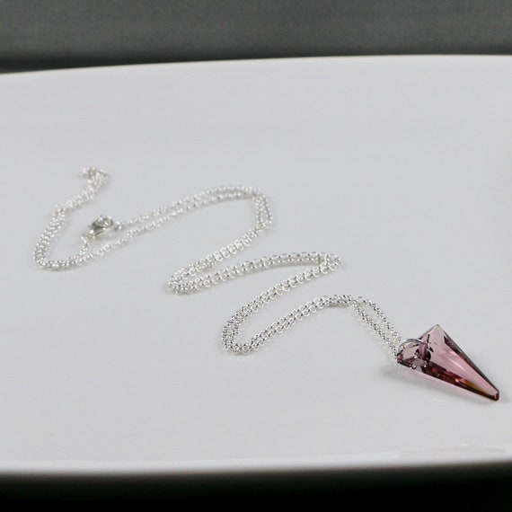 Spiked Necklace - Swarovski Crystal | Sterling Silver | Gold-fill | Long Pendant Necklace