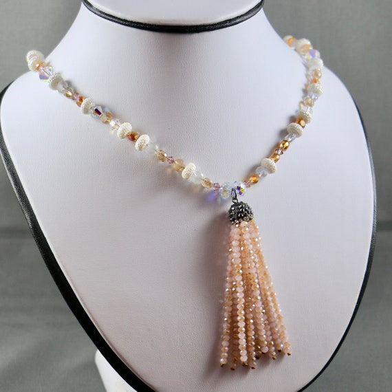 Victoria Tassel Necklace - Crystal | Beaded Tassel | Sterling Silver | Long Necklace