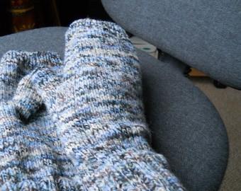 White blue brown  fingerless gloves for a man