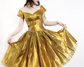 1950s SHARKSKIN Dress . Vintage Gold Taffeta Cocktail Gown