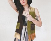 Suede Color Block Vest . 70s