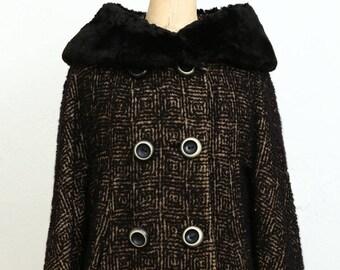 Boucle & Fur Pea Coat 1960s Winter Wear