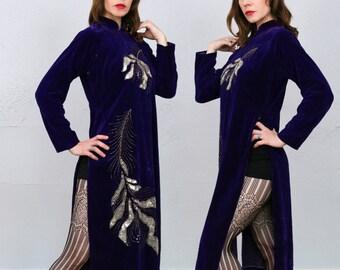 Sequin Purple Velvet Dress 1960s High Slit
