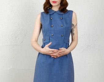 1960s MOD Blue Dress