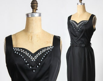 Satin Cocktail Dress Beading & Belt Midcentury Cocktail.  Party Dress