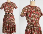 Red Brown Dress Abstract Print Mid Century Frock