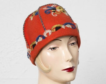 d4b41ee4b97 Antique Austrian Wool Hat with Emgroidery