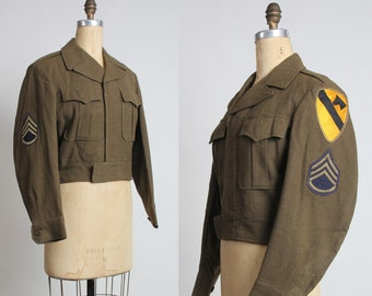 1950s US Army Cavalry Staff Sergeant Jacket with Patches.  Mid Century