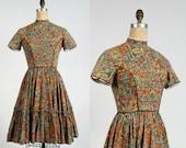 Folk Print Dress . 1960s Country Frock Full Skirt