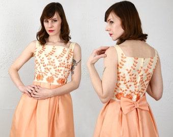 Peach Dress & Top . 1960s Two Piece 2pc Set