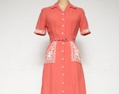 Vintage Cotton Applique Dress POCKETS & Belt