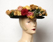 Antique Paper Flower Hat