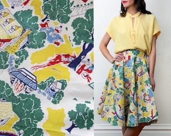 Colorful Village Print Circle Skirt