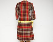 Plaid Dress with Sash . Handmade Vintage
