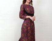 Floral Purple 1960s Dress