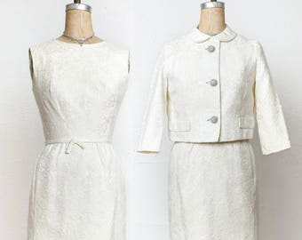 Two Piece Brocade Dress Jacket Suit
