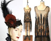 AMAZING 1920s Beaded Mesh Flapper Dress and Head Piece