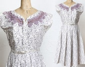Purple Mid Century Day Dress Lace Neck