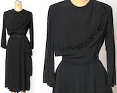 Antique Black Dress Velvet Accents