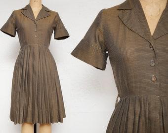 Brown Pin Stripe Dress . Shirtwaist