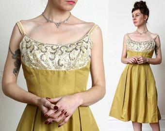 Vintage Beaded Taffeta Dress