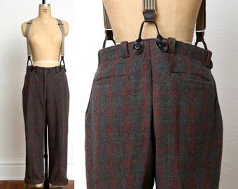Vintage Wool Pants . Red Green Plaid