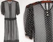 1930s Sheer Navy Sheer Swiss Dot Dress Faux Diamond Buttons