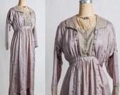 Antique Silk Gown . Lilac Dress . Lace . Pre 1910s