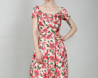 1950s Floral Dress . Vintage Cocktail Gown Clothing Wear