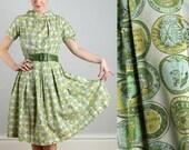 Vintage Green Coin Print Dress