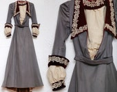 1800s 2pc Set Victorian Grey Suit