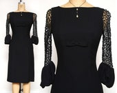 1960s Bell Cuff LBD Black Cocktail Dress
