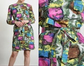 Multi Color 60s Dress . Abstract Print