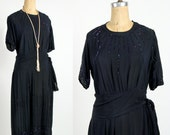 20s Sparkle Beaded Dress . Flapper Gown in Navy Chiffon . Antique Fashion