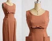 1960s Linen Dress Pockets & Bow