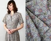 Folk Print Dress . 1960s Shirtwaist