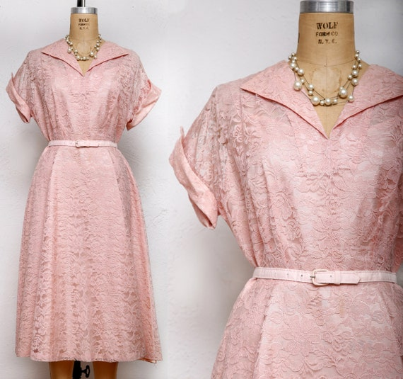 Plus Size Pink Lace Dress