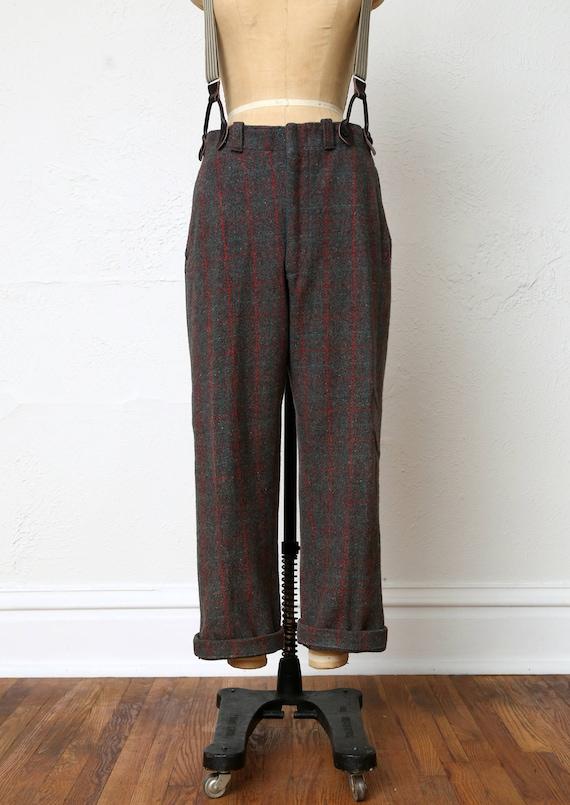 Vintage Wool Pants . Red Green Plaid - image 3