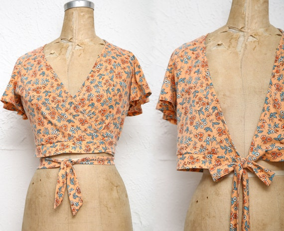 Crop Top Shirt Wrap Butterfly Sleeve